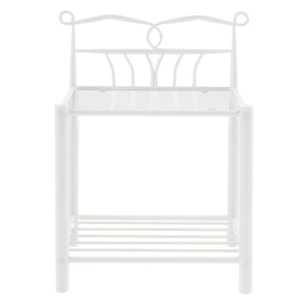 Actona Nachttisch Line Metall weiß mit Glasplatte
