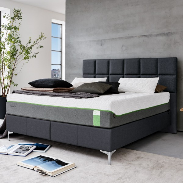 Tempur® Boxspring Bett Check Hybrid Chrom Edge Charcoal