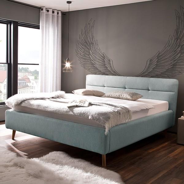 Meise Möbel Polsterbett Lotte mit Bettkasten und Lattenrost Eisblau